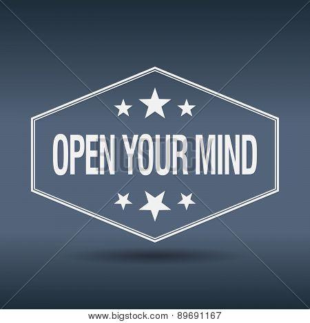 Open Your Mind Hexagonal White Vintage Retro Style Label
