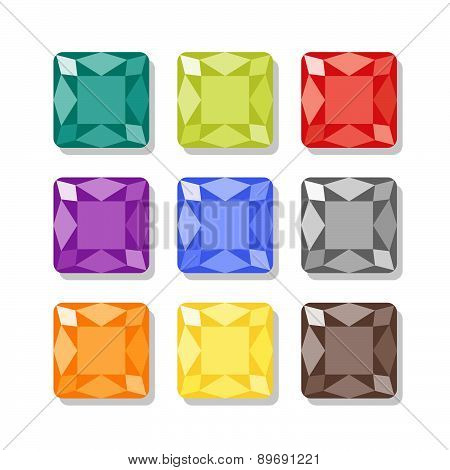 Cartoon Square Gems Icons Set In Different Colors