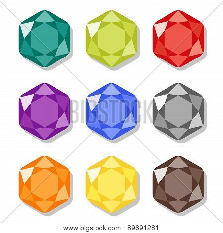 Cartoon Hexagon Gems Icons Set