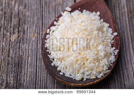 Old Wooden Spoon Of Desiccated Coconut