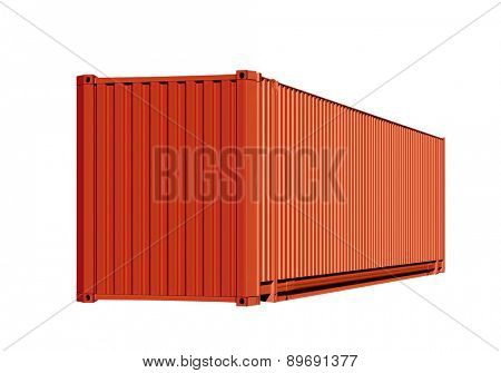 Orange container for cargo transportation isolated on white background with path