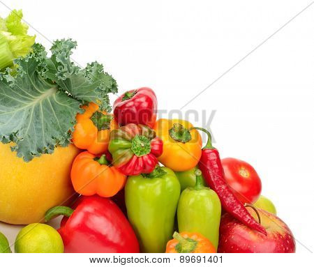 Assortment fresh fruit and vegetables isolated on white