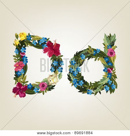 D letter. Flower capital alphabet. Colorful font. Uppercase and Lowercase. Vector illustration.