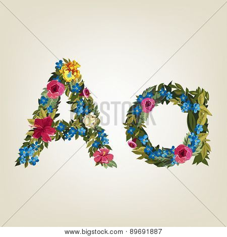 A letter. Flower capital alphabet. Colorful font. Uppercase and Lowercase. Vector illustration.