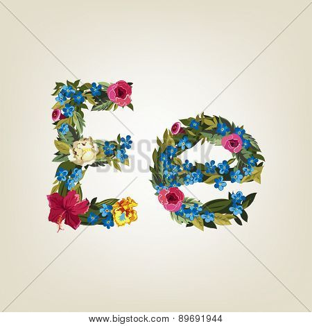 E letter. Flower capital alphabet. Colorful font. Uppercase and Lowercase. Vector illustration.
