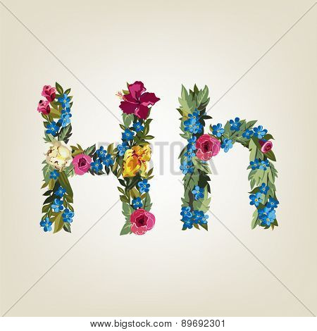 H letter. Flower capital alphabet. Colorful font. Uppercase and Lowercase. Vector illustration.