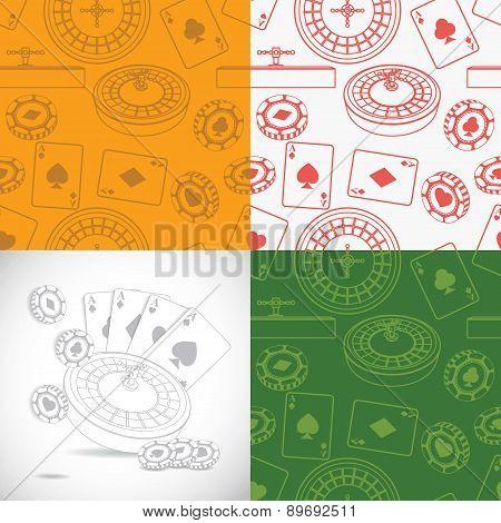 Seamless casino patterns set