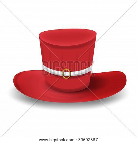 Red top hat isolated on white background