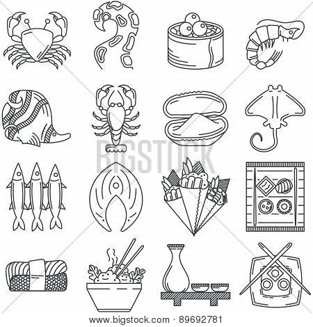 Black line icon vector collection of sea food