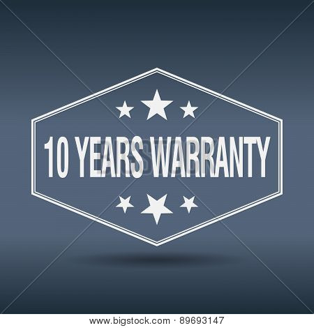 10 Years Warranty Hexagonal White Vintage Retro Style Label