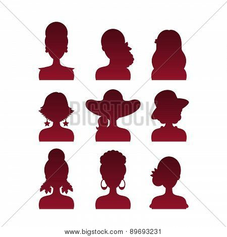Set Of Icons With Various Women Fashion Styles