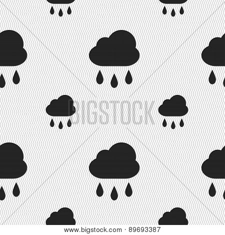 Weather Rain Icon Sign. Seamless Pattern With Geometric Texture. Vector