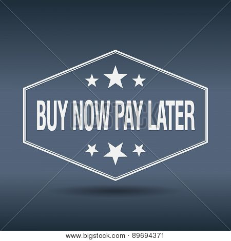 Buy Now Pay Later Hexagonal White Vintage Retro Style Label