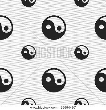 Ying Yang Icon Sign. Seamless Pattern With Geometric Texture. Vector