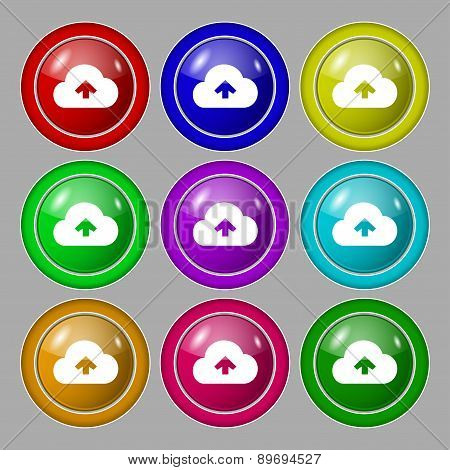 Upload From Cloud Icon Sign. Symbol On Nine Round Colourful Buttons. Vector