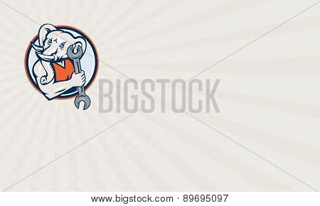 Business Card Elephant Mechanic Spanner Mascot Circle Retro