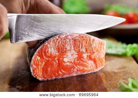 Fresh salmon. Cooking process.