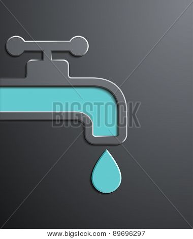 Faucet With A Drop Of Water. Flat Graphics