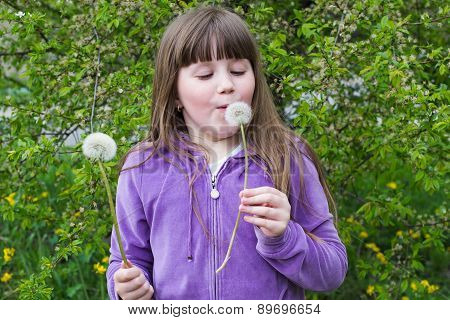 Cheerful Kid Girl With A  Dandelions