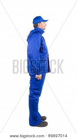 Worker in blue workwear.