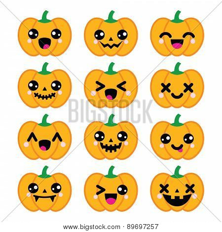 Halloween Kawaii cute pumpkin icons - vector