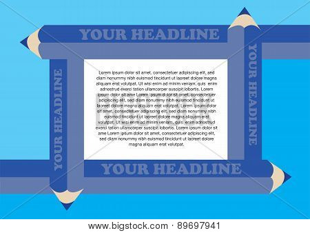 Vector Background With Blue Pencils Border Framing White Text Area