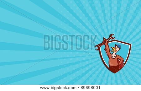 Business Card Turkey Mechanic Spanner Shield Cartoon