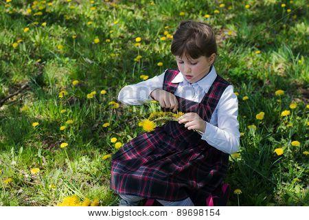 Girl Weave A Wreath Of Dandelions