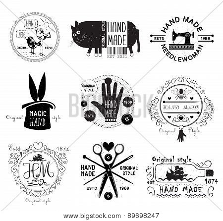 Set of vintage  hand made  logo,  labels and designed elements