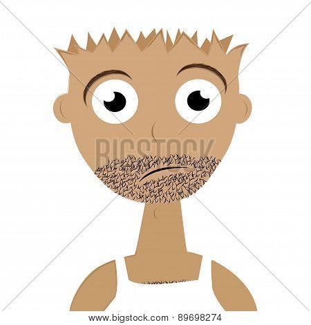 sad man with a beard. Vector illustration