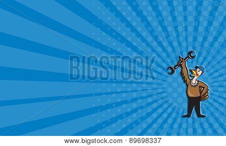 Business Card Turkey Mechanic Standing Spanner Cartoon