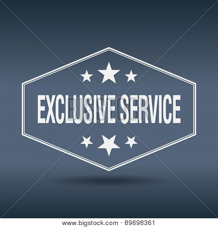Exclusive Service Hexagonal White Vintage Retro Style Label