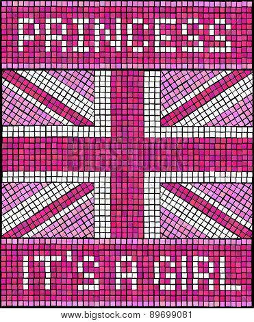 Birth of the Royal Baby Girl concept. A Union Jack flag made from mosaic tiles, in shades of pink for a new baby Princess. EPS10 vector format.