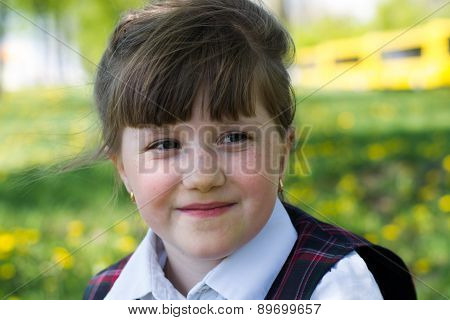 Portrait Of Kid Girl On Nature