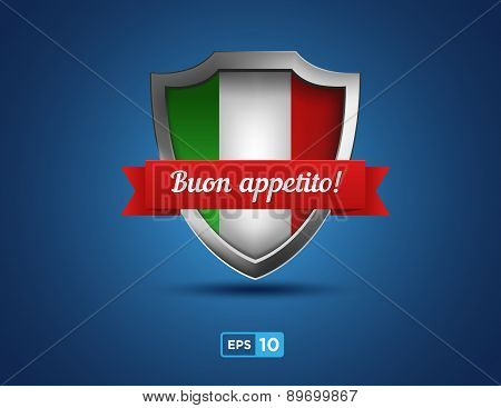 Italy Shield With Ribbon Buon Appetito On The Blue Background