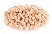 image of chickpea  - Closeup of chickpeas isoltaed on white background - JPG