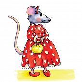 pic of mouse  - funny Lady mouse with red dotted dress isolated over white background - JPG