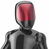 stock photo of cyborg  - Bot robot cyborg android futuristic character artificial concept black shiny metallic - JPG