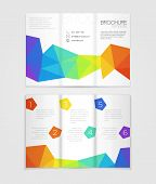 image of brochure  - Vector brochure template design with colorful rainbow elements - JPG