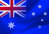 stock photo of oz  - Abstract Australian national flag in the wind - JPG