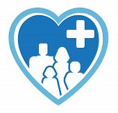 stock photo of flashers  - blue isolated medicine icon with family on heart - JPG