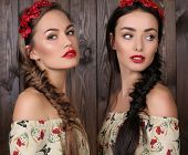 picture of headband  - fashion studio photo of two beautiful girls with long hair in elegant dresses with print of poppies and flower - JPG