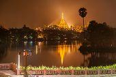 pic of yangon  - Shwedagon Pagoda at night in Yangon Myanmar - JPG
