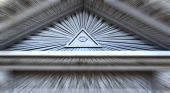 picture of illuminati  - all seeing eye on a building with motion blur - JPG