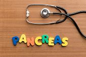 picture of pancreas  - pancreas colorful word on the wooden background - JPG