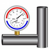 picture of manometer  - gas manometer isolated on white background vector illustration - JPG