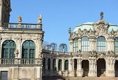 picture of pilaster  - View of quiet corner near curved gallery with terrace and Wall Pavilion of Zwinger in Dresden Saxony Germany - JPG
