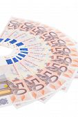 picture of fifties  - Fifty euro banknote fan isolated on white background - JPG
