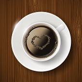 foto of scum  - cup of coffee and heart of the bubbles - JPG