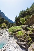 stock photo of samaria  - Hiking within the gigantic gorge of Samaria - JPG